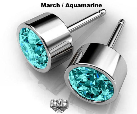 Image of Aquamarine blue Swarovski crystal earrings March birthstone