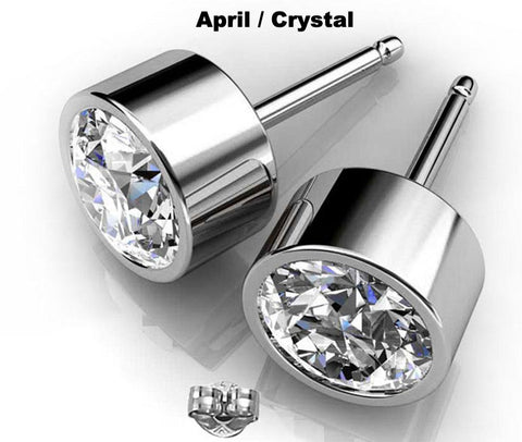 Crystal Earrings Round Swarovski Studs April Birthstone in Silver