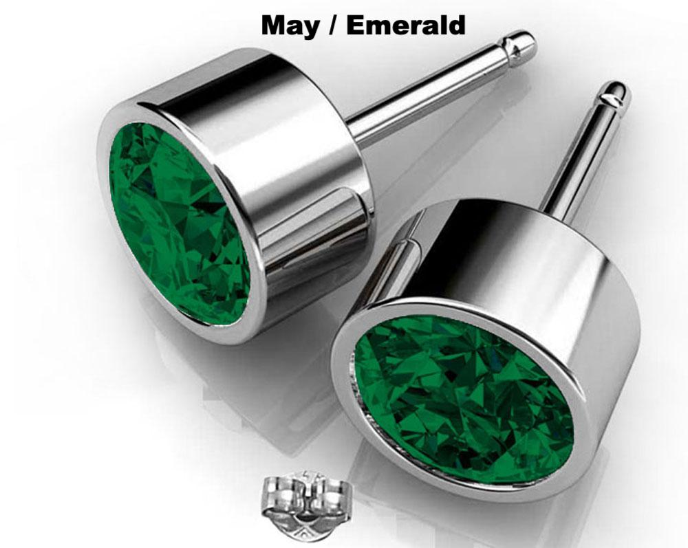 May birthstone emerald Swarovski earrings silver hypoallergenic