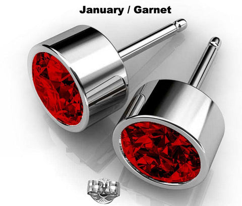 Image of January birthstone garnet swarovski crystal earrings studs red