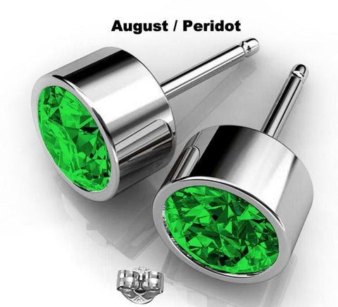Birthstone Swarovski stud earrings in August Peridot silver round