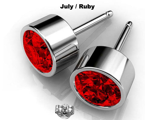 Ruby Earrings Crystal Swarovski Round Studs in Silver hypoallergenic