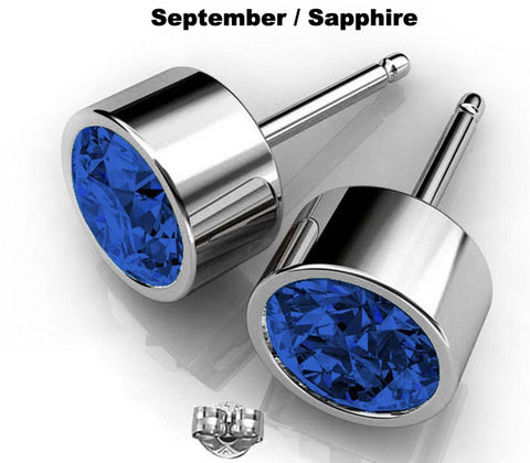 Image of Blue Crystal Swarovski earrings in Silver Septemeber Birthstone Sapphire