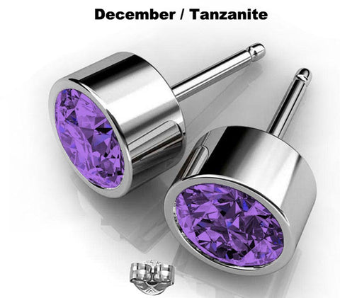Image of Purple crystal Swarovski earrings studs December birthstone