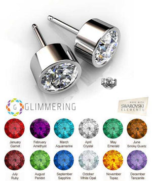 Swarovski Crystal earrings Birthstone round studs silver