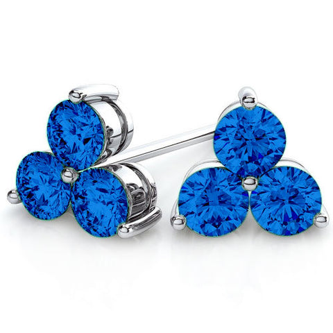 Image of Trois Petites étoiles- Swarovski® Crystal Earrings Brilliant-Cut 14K Rhodium Plated in Silver (Hypoallergenic)