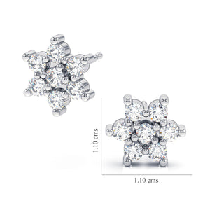 Six Crystal Petals - Swarovski® Crystal Stud Earrings 3mm Round Hypoallergenic (HANDCRAFTED)