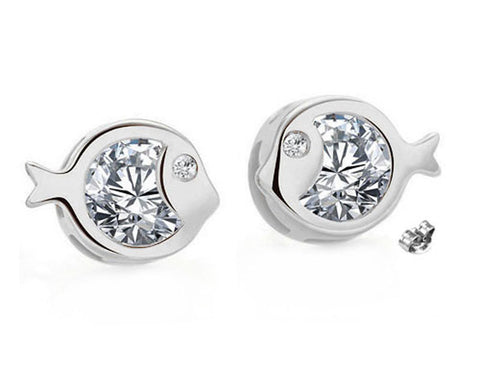 Just Keep Swimming, Just Keep Sparkling! - Swarovski® Crystal Handcrafted Stud Earrings in Silver