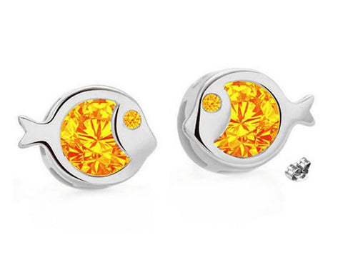 Image of Just Keep Swimming, Just Keep Sparkling! - Swarovski® Crystal Handcrafted Stud Earrings in Silver