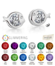Load image into Gallery viewer, Just Keep Swimming, Just Keep Sparkling! - Swarovski® Crystal Handcrafted Stud Earrings in Silver