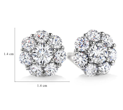 Image of Blossoms -Round Cut Floral Stud Earrings Made with 5.44 CTTW Swarovski Crystals