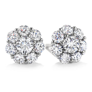 Blossoms -Round Cut Floral Stud Earrings Made with 5.44 CTTW Swarovski Crystals