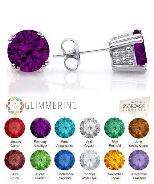 Glitter Candy- Swarovski® Birthstone Crystal Stud Earrings in Silver Rhodium Plating HANDCRAFTED