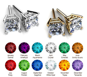 2 Pairs Genuine Swarovski Elements 6mm -14kt White & Yellow Gold Plated Stud Earrings