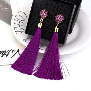 Chandelier Purple Tassel Earrings
