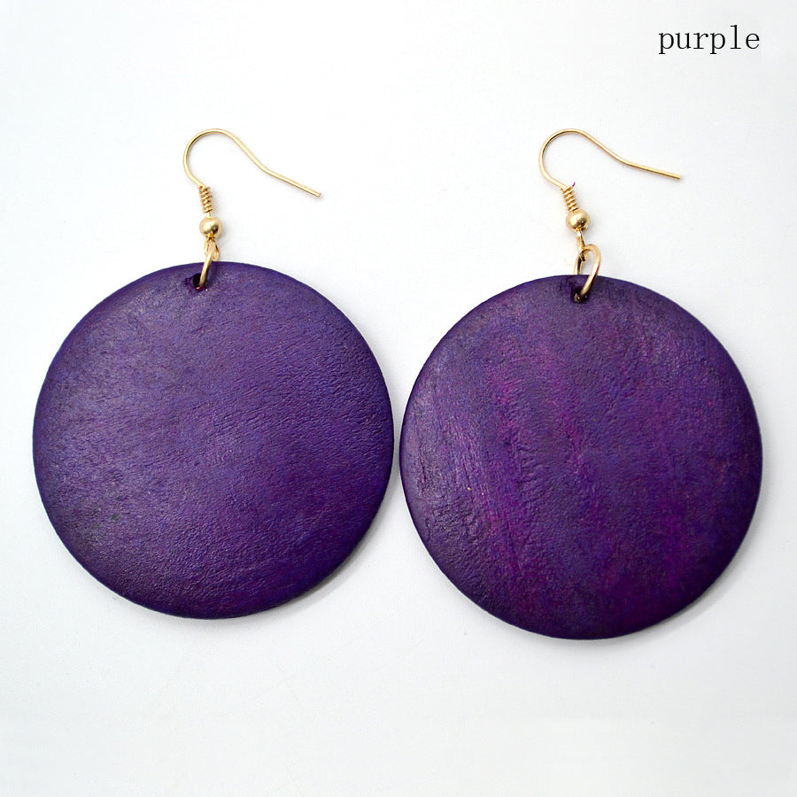 Tribal Wooden Earrings - Purple