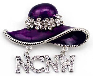 NCNW Pin (brooch) Purple Hat - Silver trim