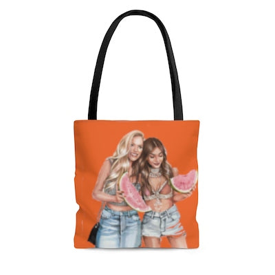 Summertime joys - beach/town tote bag orange large