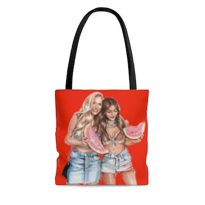 Summertime joys - beach/town tote bag orange red large