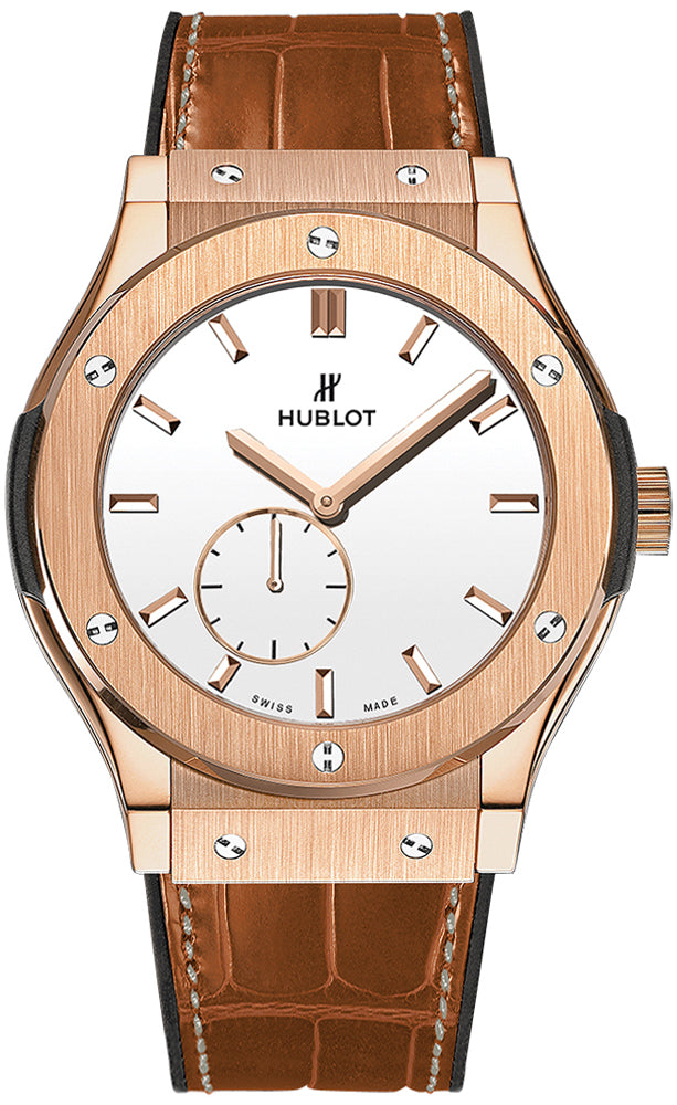 Hublot Classic Fusion Ultra-Thin 45 mm 515.OX.2210.LR 18K Rose Gold White Dial Watch