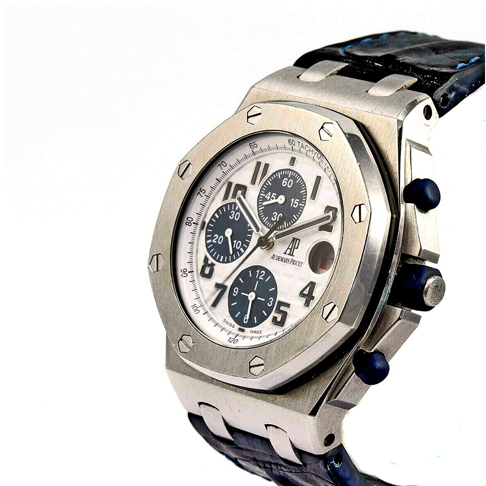 AUDEMARS PIGUET Royal Oak Offshore Chronograph 42mm Navy Blue Leather Band Men's Watch