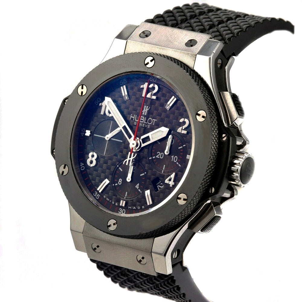 HUBLOT Big Bang Chronograph Stainless Steel Ceramic Rubber Band Men's Watch