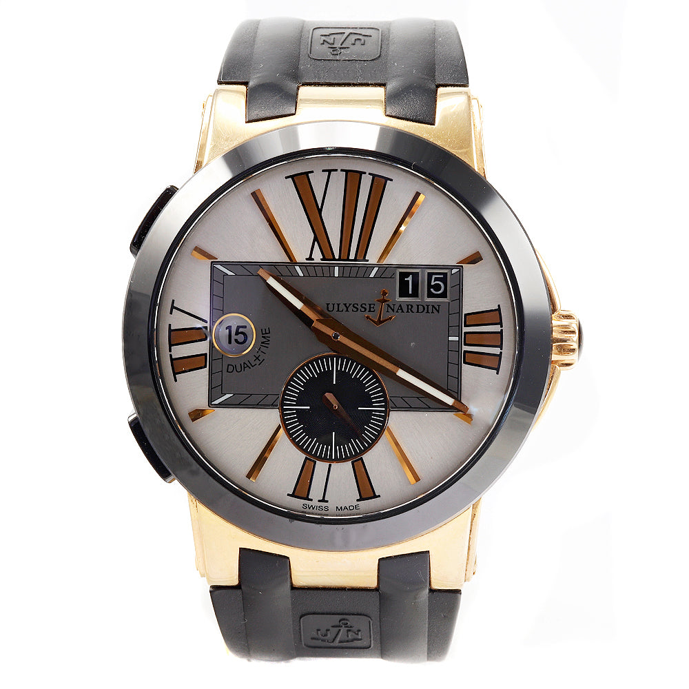 Ulysse Nardin Executive Dual Time 43 mm 246-00 18K Rose Gold Rubber Band Watch