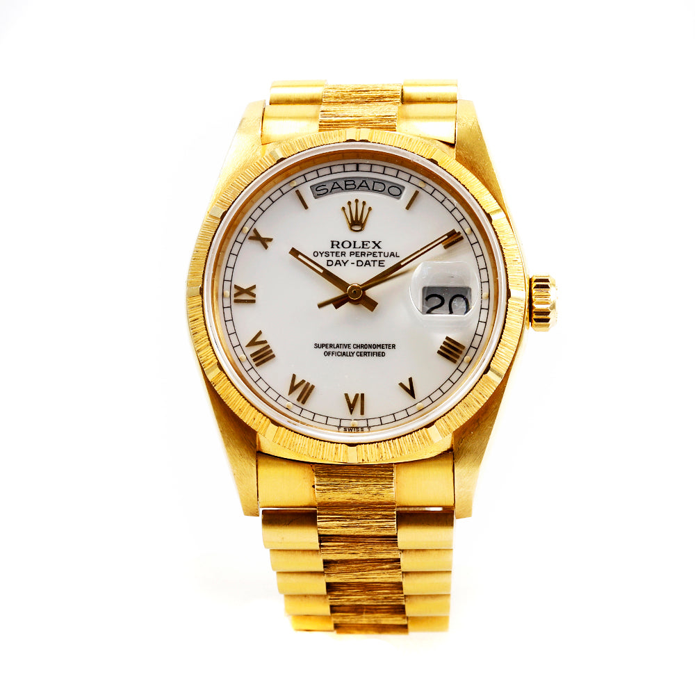 ROLEX 1811 Day-Date Florentine 36mm 18K Yellow Gold White Dial Automatic Watch