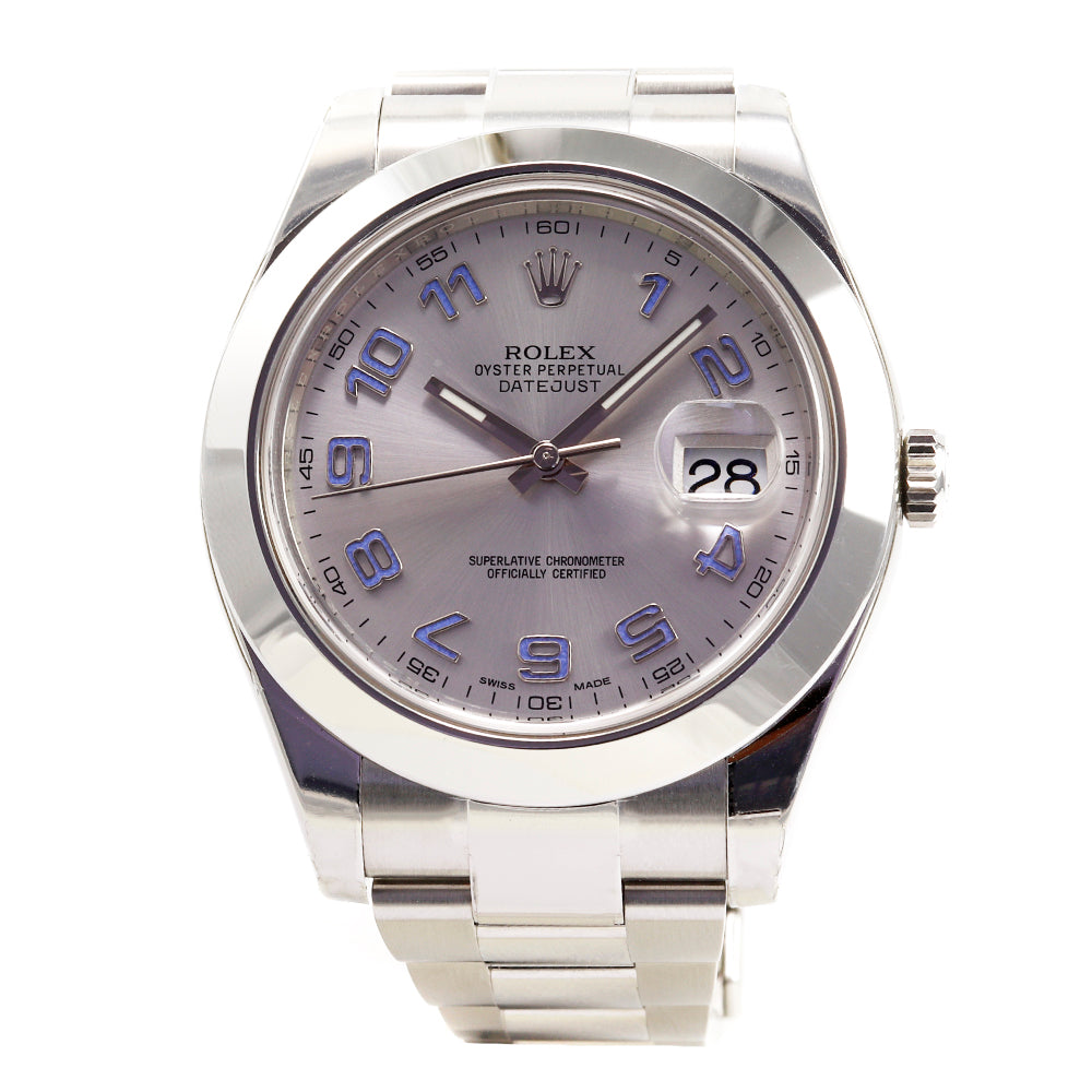 ROLEX DateJust 116300 41 mm Stainless Steel Silver Dial Blue Numbers Watch