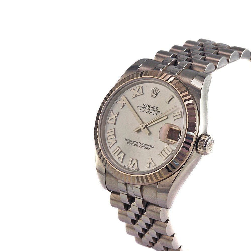 ROLEX DateJust 31 mm Stainless Steel White Mother of Pearl Jubilee Bracelet Roman Ladie's Watch