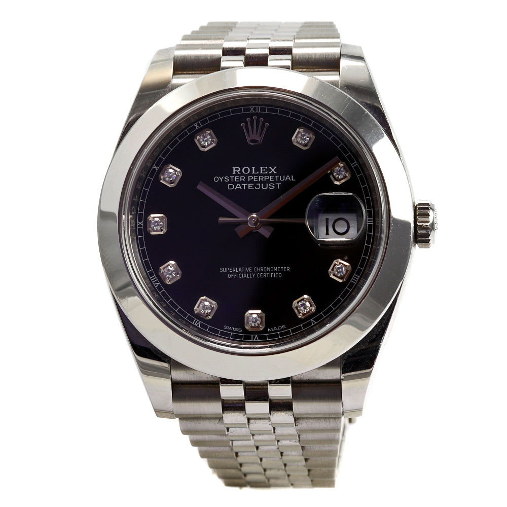ROLEX DateJust 126334 41 mm Black Diamond Dial Jubilee Bracelet Smooth Bezel Watch