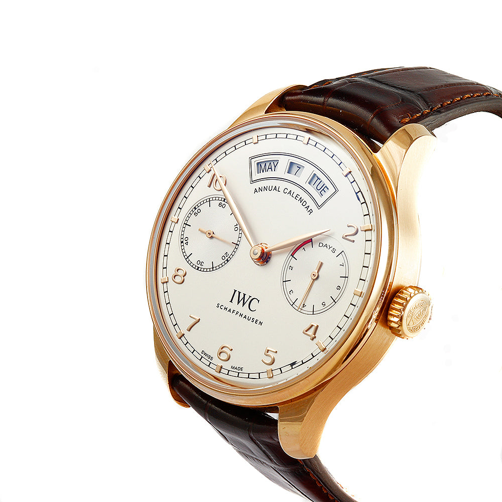 IWC Schaffhausen Portugieser Annual Calendar 44 mm 18K Rose Gold Brown Leather Band Watch