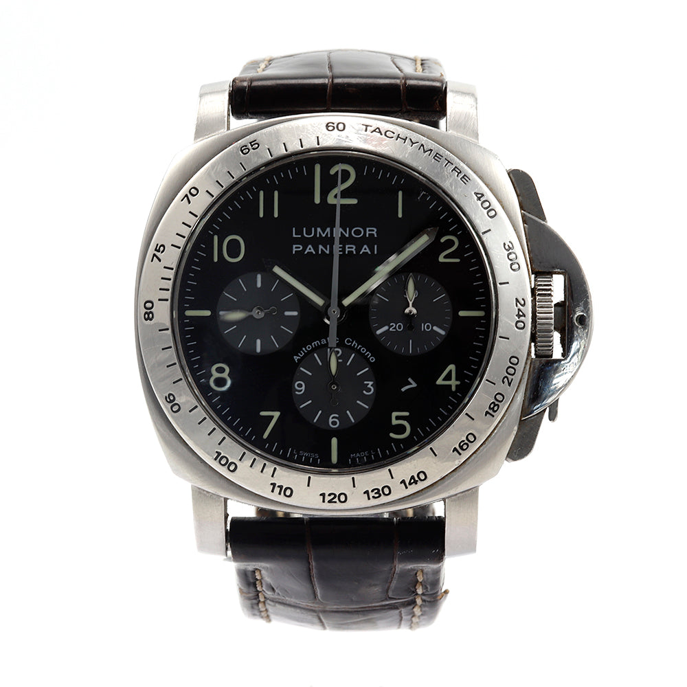 Panerai Luminor Chronograph PAM162 Stainless Steel Leather Band Automatic Watch