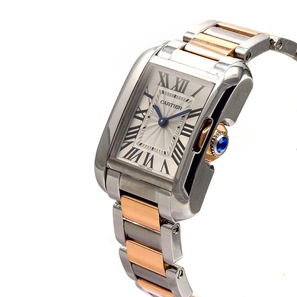 Cartier Tank Anglaise 3485 18K Rose Gold/Stainless Steel 30 mm Ladie's Watch