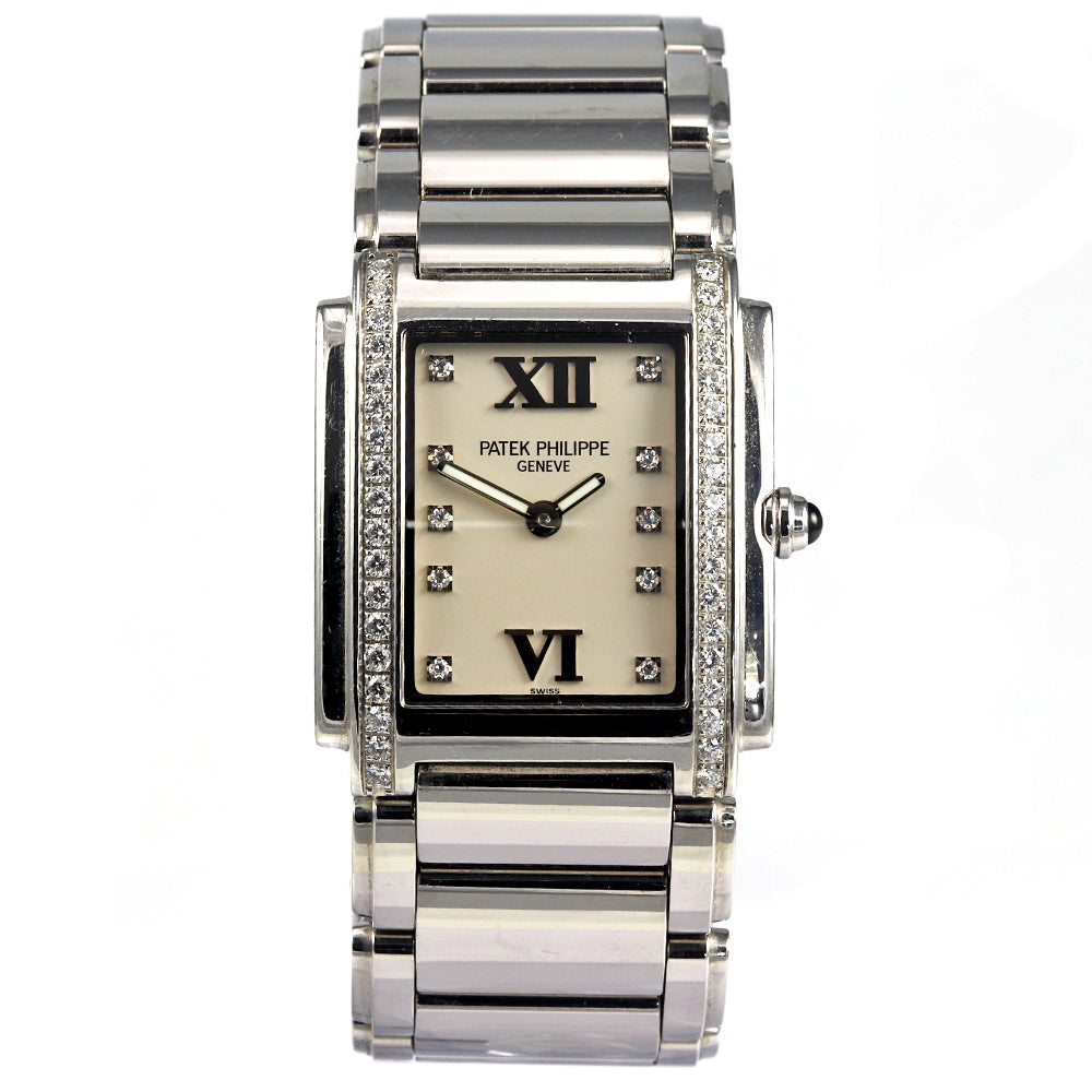 PATEK PHILIPPE Twenty-4 Diamond Bezel 18K White Gold Bracelet Women's Watch