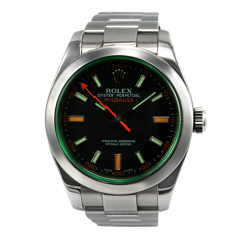 ROLEX Oyster Perpetual Milgauss 116400 Green Sapphire Stainless Steel Watch