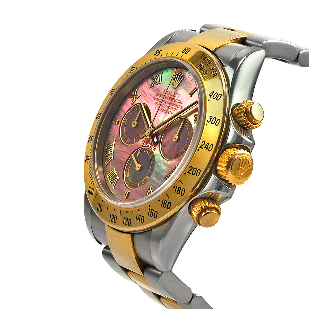 ROLEX Daytona Mother of  Pearl Stainless Steal and 18 Karat Yellow Gold