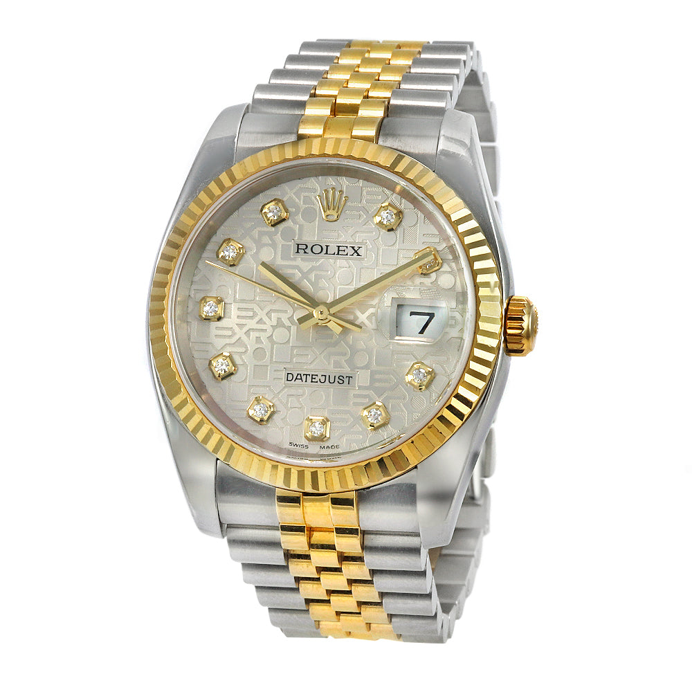 ROLEX 116233 DateJust 36mm 18K Yellow Gold&Stainless Steel Diamond Dial Fluted Bezel Ladie's Watch