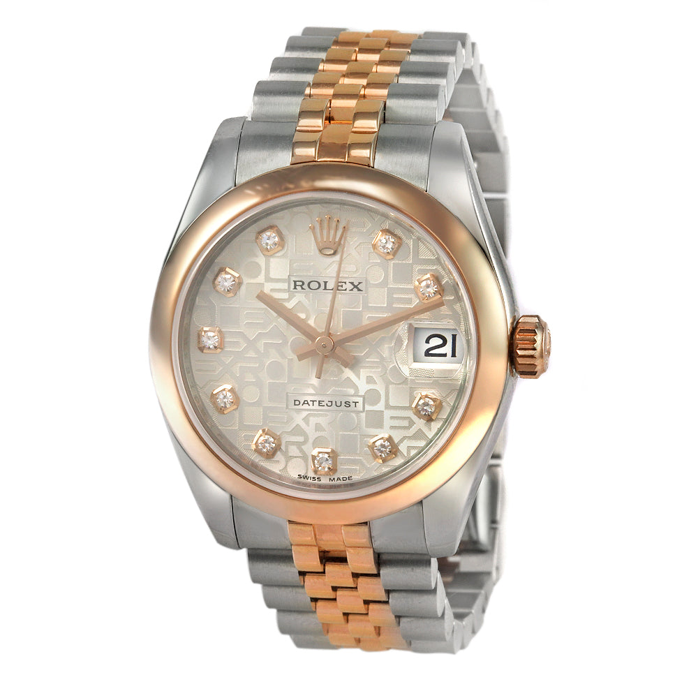 ROLEX DateJust 31mm TwoTone Stainless Steel&18K Rose Gold Smooth Bezel Watch