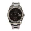 ROLEX DateJust 36mm Brown Floral Dial Diamond Bezel Stainless Steel Bracelet Watch