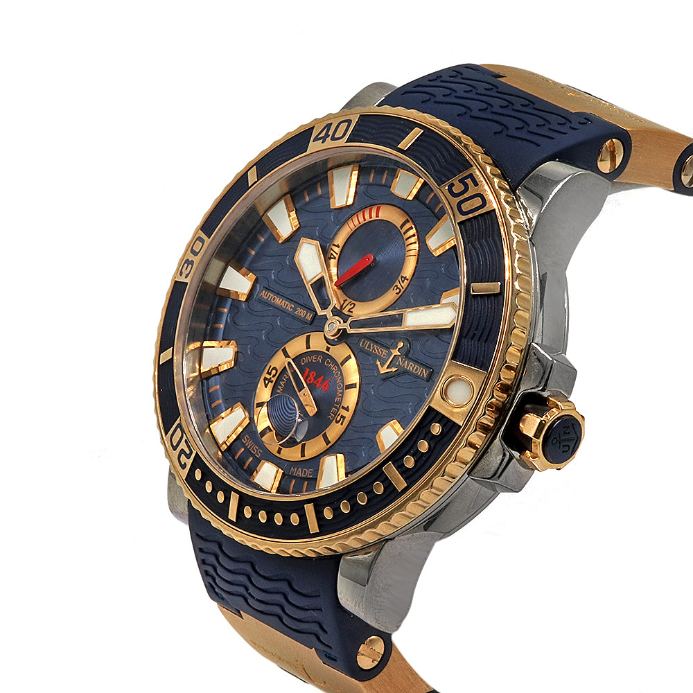 ULYSSE NARDIN Marine Diver 45mm Titanium Rose Gold Blue Rubber Band Men's Watch 265-90-3/93