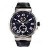 Ulysse Nardin Marine 1183-122 SS 45mm Leather Band Black Roman Men's Watch