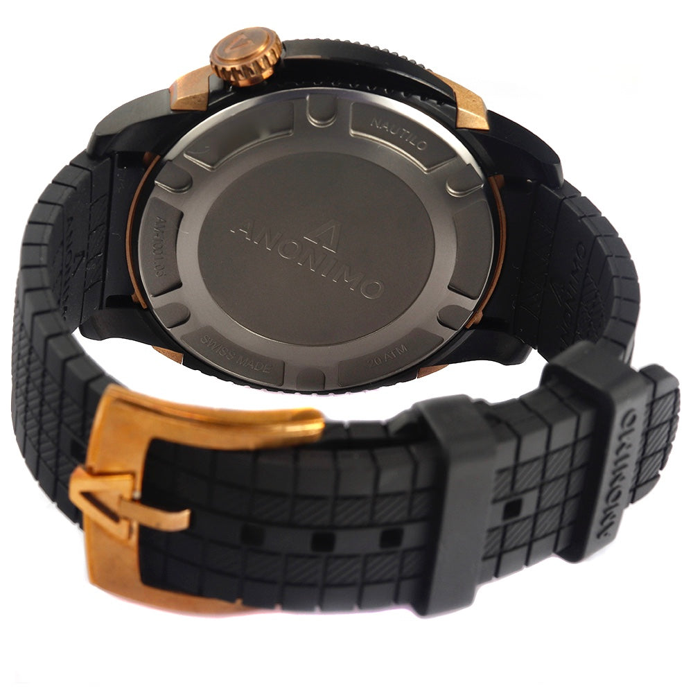 ANONIMO NAUTILO 45 mm Bronze&Carbon Rubber Band Men's Watch