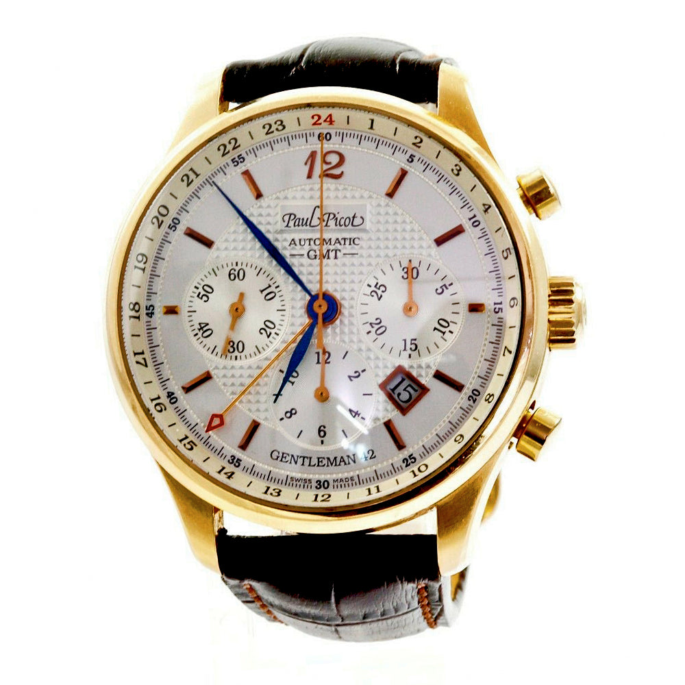 Paul Picot Gentleman 42mm 2031.r Rose Gold Chronograph Leather Band Men's Watch