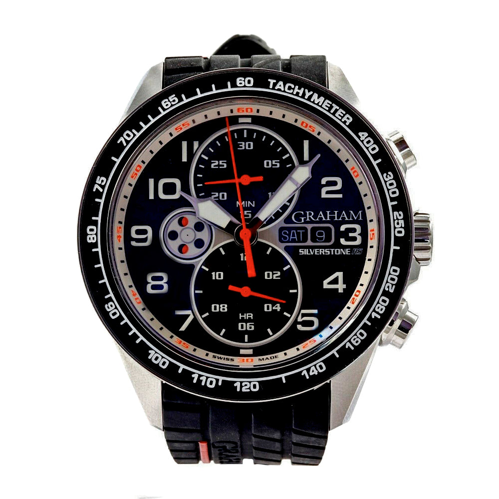 Graham Silverstone RS Racing Chrono 46mm SS Rubber Band Watch