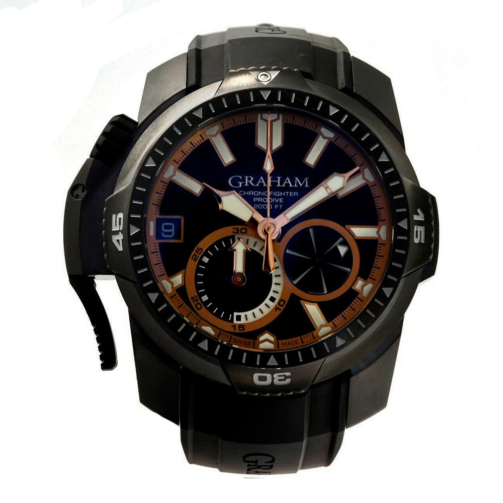 Graham Chronofighter ProDive 2CDAB.B04A.K80N 46 mm DLC Rubber Left Hand Watch