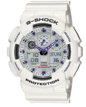 G-Shock GA-100A-7ACU White Resin Band Digital Analog Watch