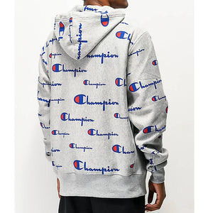 Champion Life Mens Pullover Hoodie, All Over Logo