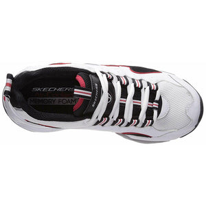 Skechers Women's D'Lites 3 - ZENWAY Memory Foam Lace-up Sneaker Black White Red