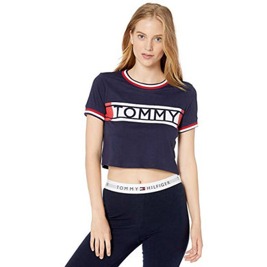 TOMMY HILFIGER WOMENS TOMMY LOUNGE CROP TEE - PEACOAT